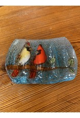 Hand Blown Glass Soap Dish, Cardinal w/ Chickadee Ecuador