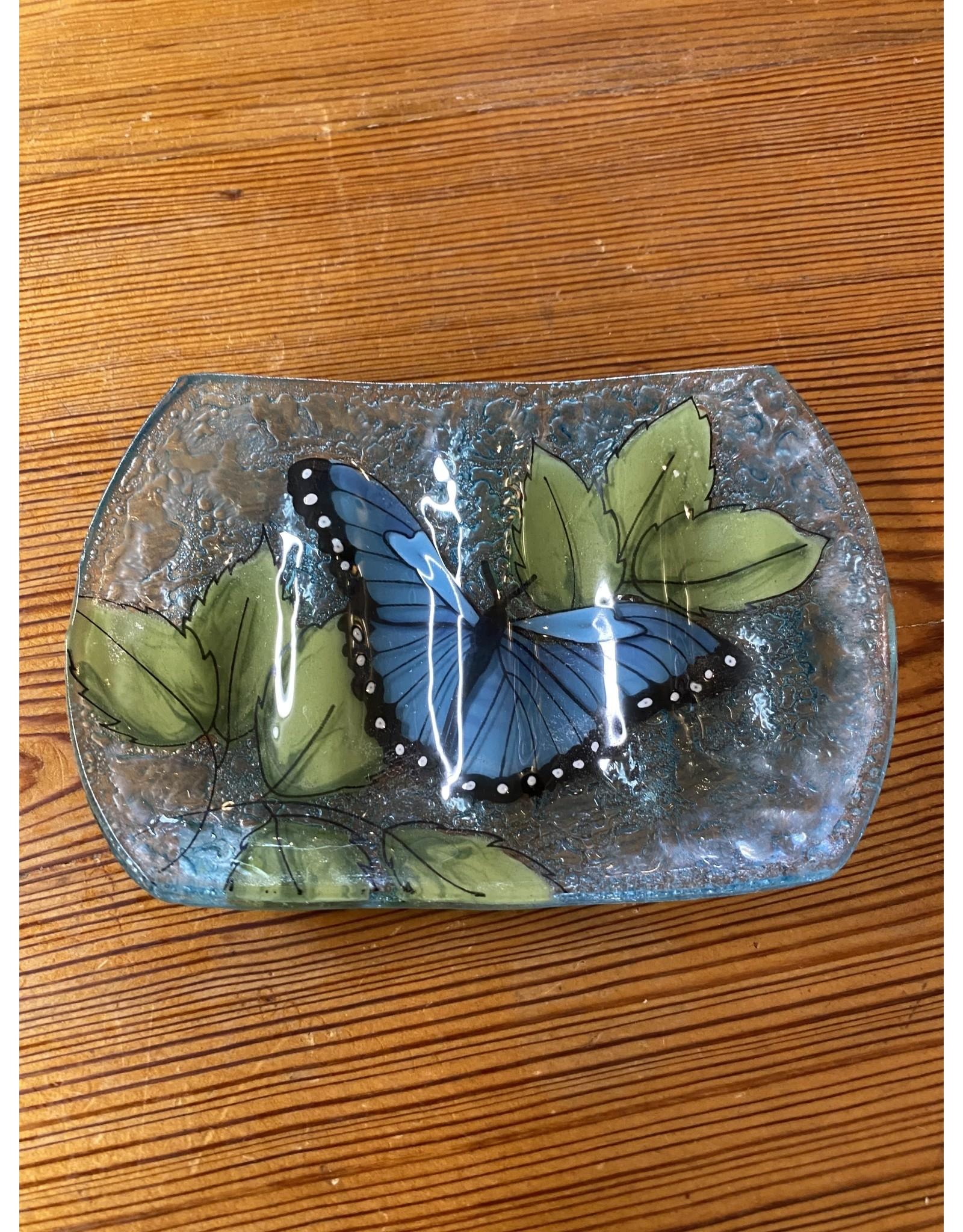 Hand Blown Glass Soap Dish, Blue Butterfly , Ecuador