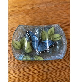 Hand Blown Glass Soap Dish, Blue Butterfly , Ecuador