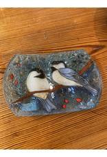 Hand Blown Glass Soap Dish, Chickadee, Ecuador