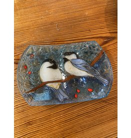 Hand Blown Glass Soap Dish, Chickadee, Ecuador