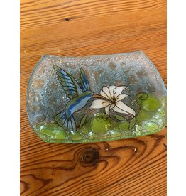 Hand Blown Glass Soap Dish, Hummingbird, Ecuador