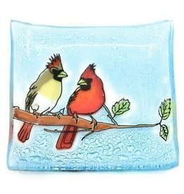 Hand Blown Small Glass Square Dish Cardinal Couple, Ecuador