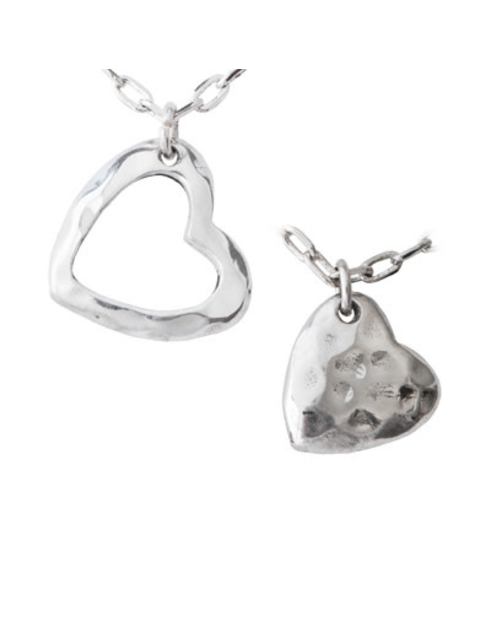Mom & Daughter Necklace Set, Hammered Hearts,  Thailand