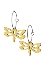 Mosaic Dragonfly Brass Earrings, Mexico
