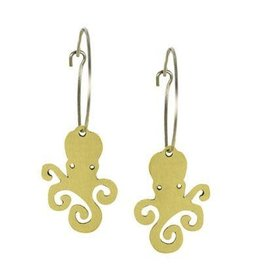 Mosaic Octopus Brass  Earrings, Mexico