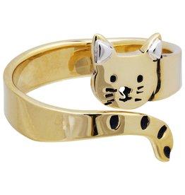 Cat Hugger Brass Ring,  Adjustable, Mexico