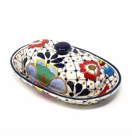 Encantada Handmade Pottery Butter Dish, Dots & Flowers