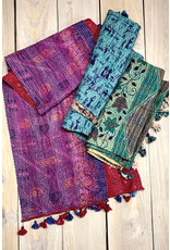 Recycled Silk Sari Scarves w/ Kantha Embroidery