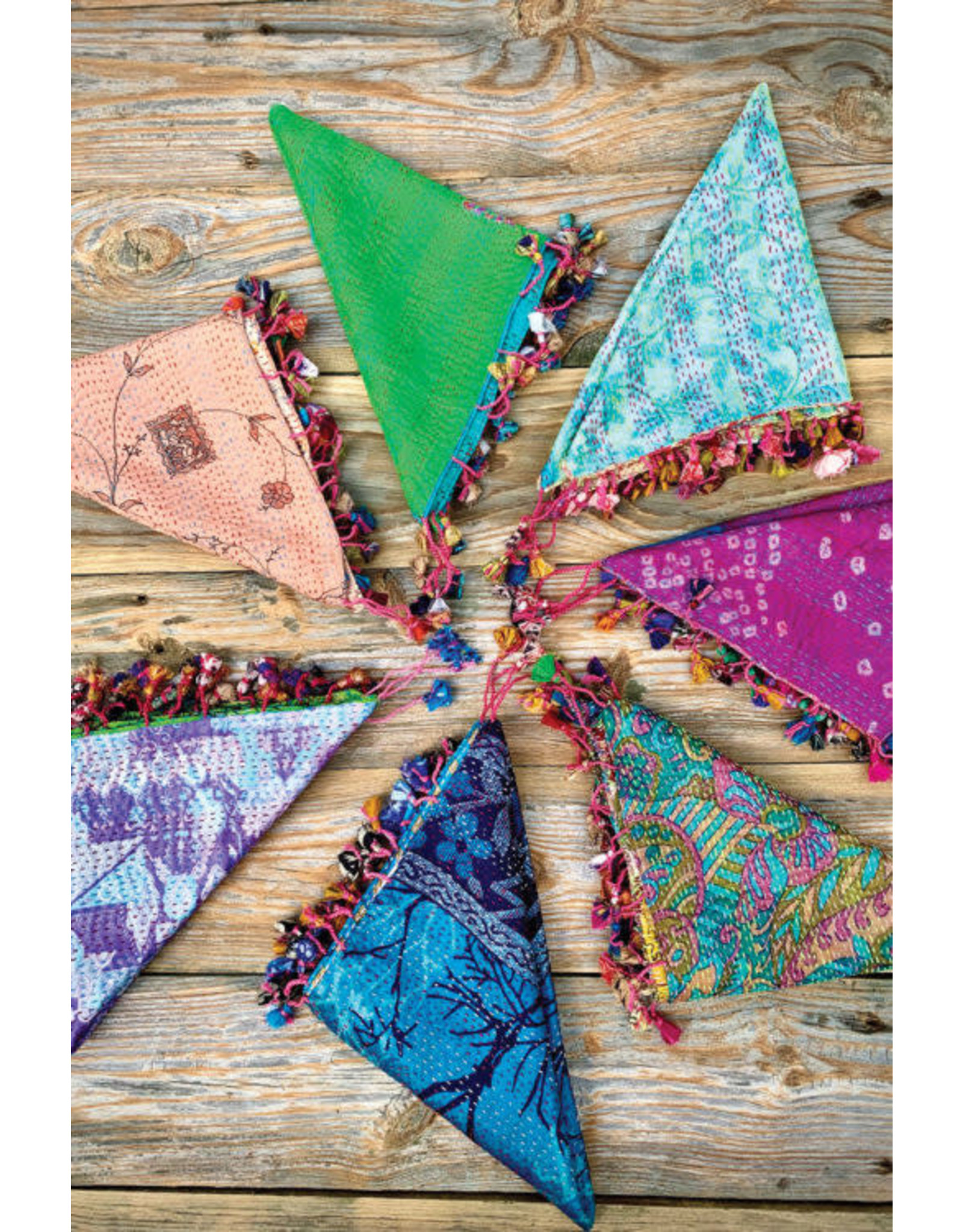 Recycled Silk Kantha Scarves, Square w/ Tassels