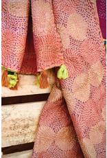 Recycled Silk Kantha Scarf  w/ Tassels, India