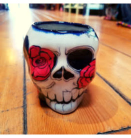 Rose Sugar Skull Skeleton Mug, Guatemala