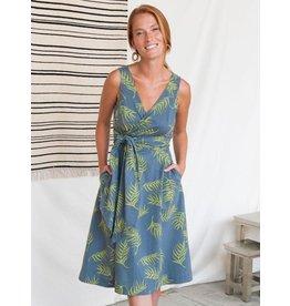 Ana Wrap Dress,  Organic Cotton,  Grey Palms