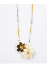 Layered Flower Necklace, Brass and Bone, India