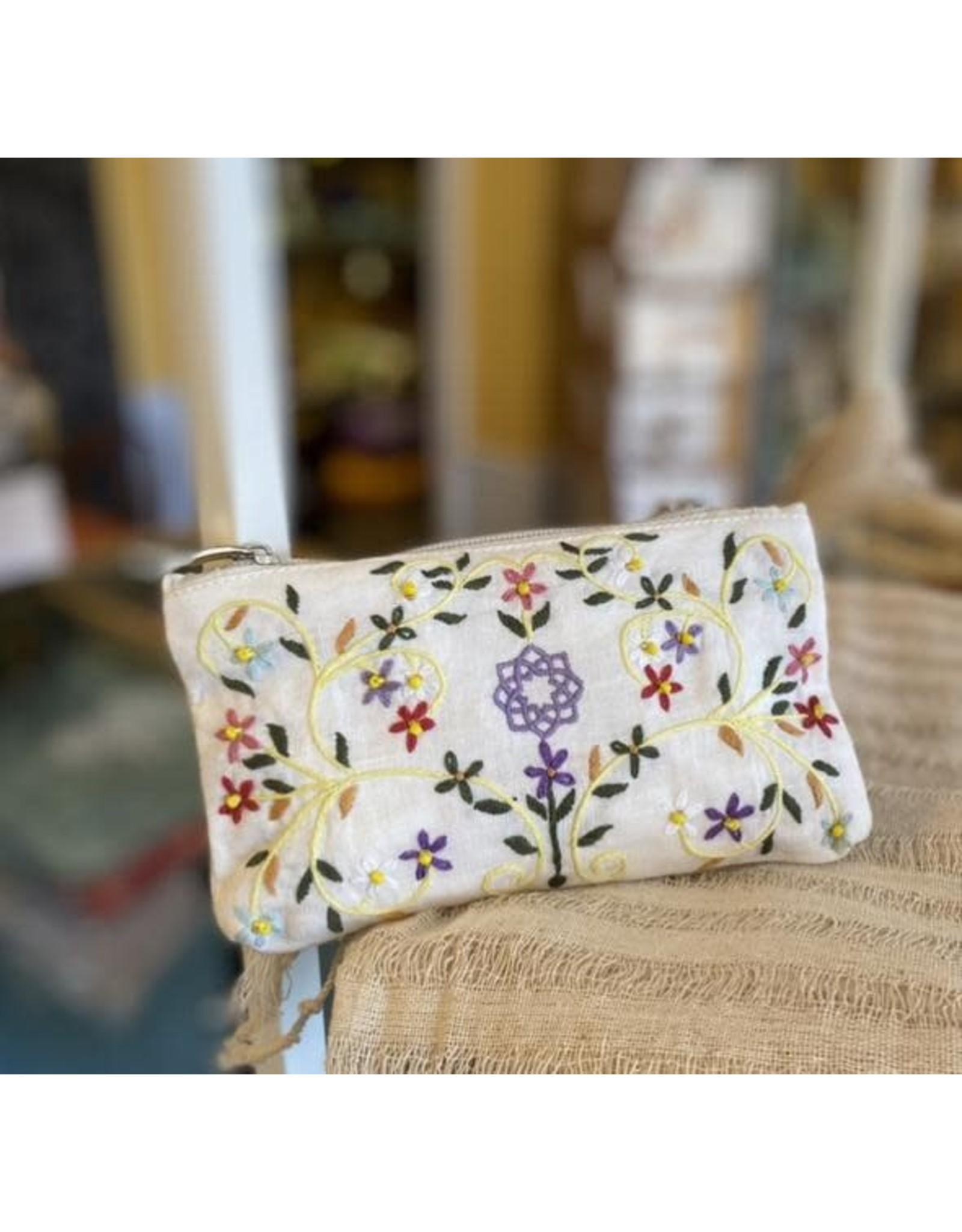 Hand Embroidered Flower Linen Bag, Vietnam