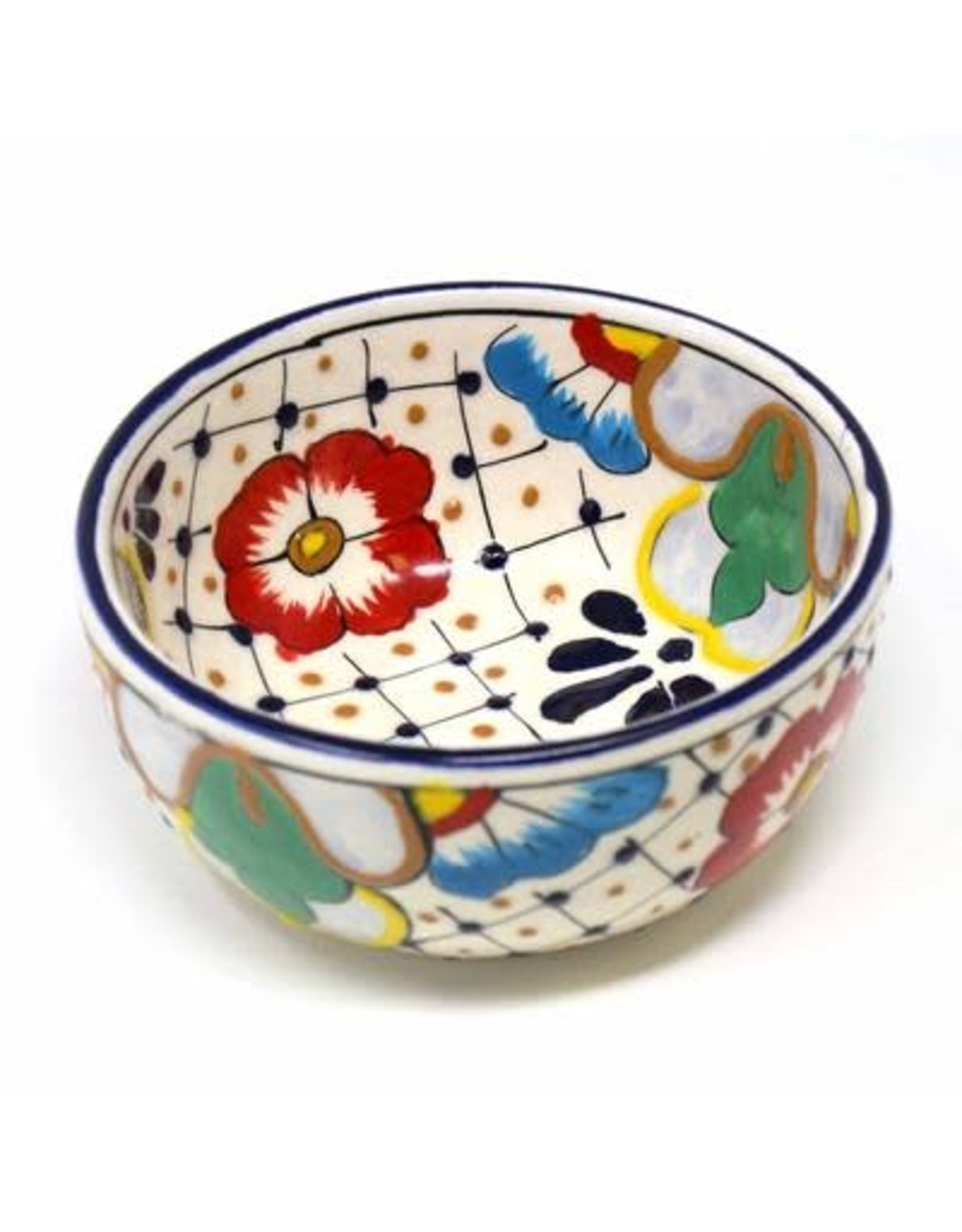 Dots and Flowers Half Moon Bowl, Mexico