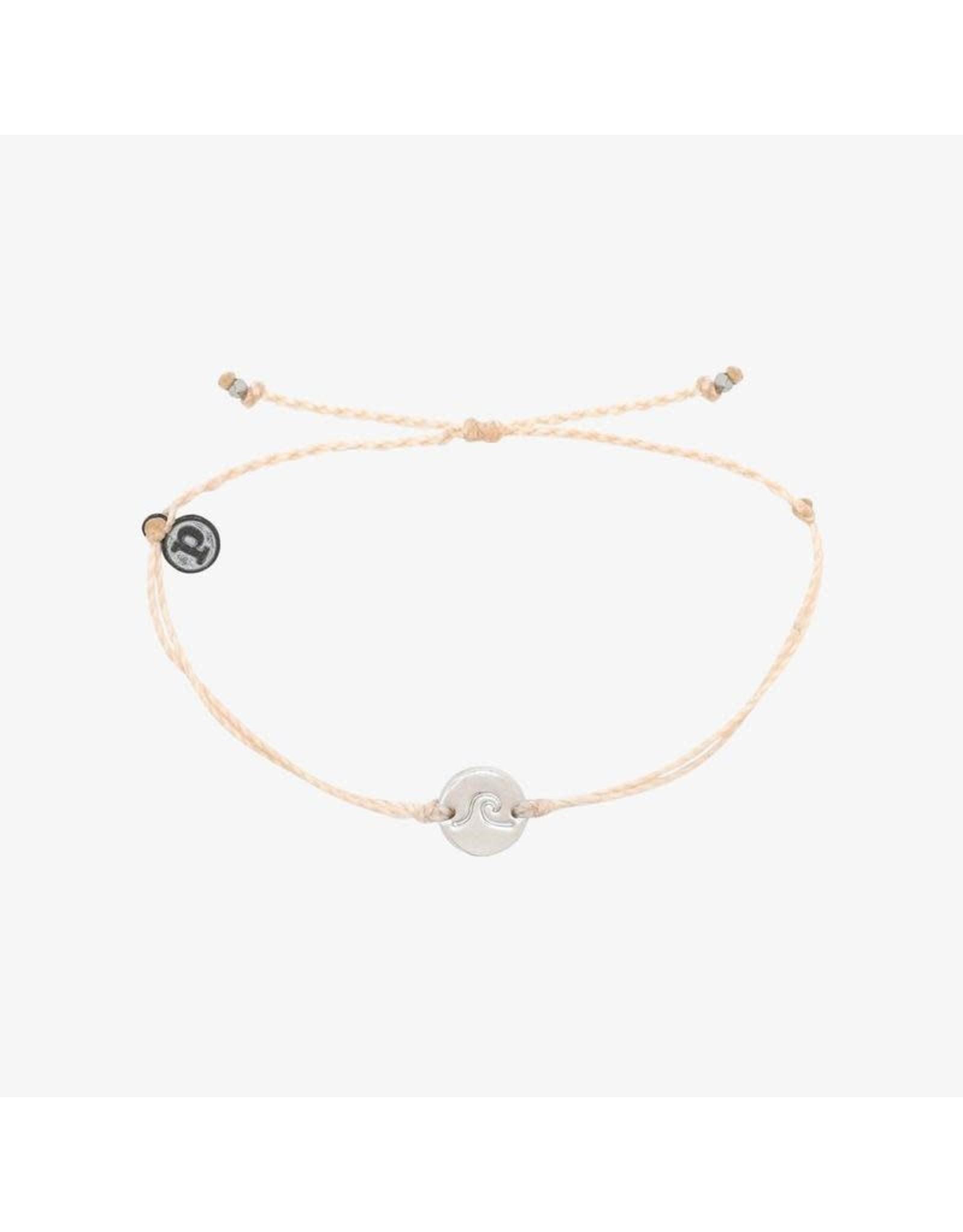 Pura Vida, Silver Wave/Surf Coin Bracelet, Vanilla