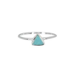 Pura Vida, Triangle Stone Sterling Ring, Turquoise