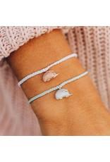 Pura Vida, Rose Gold Hedgehog Bracelet,  White