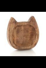 Carved Wood Kitty Trinket Dish, India