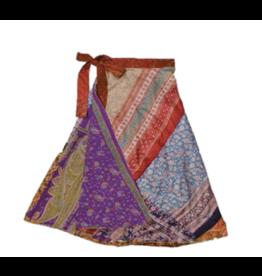Silk Sari Reversible 3/4 Length Wrap Skirt, India