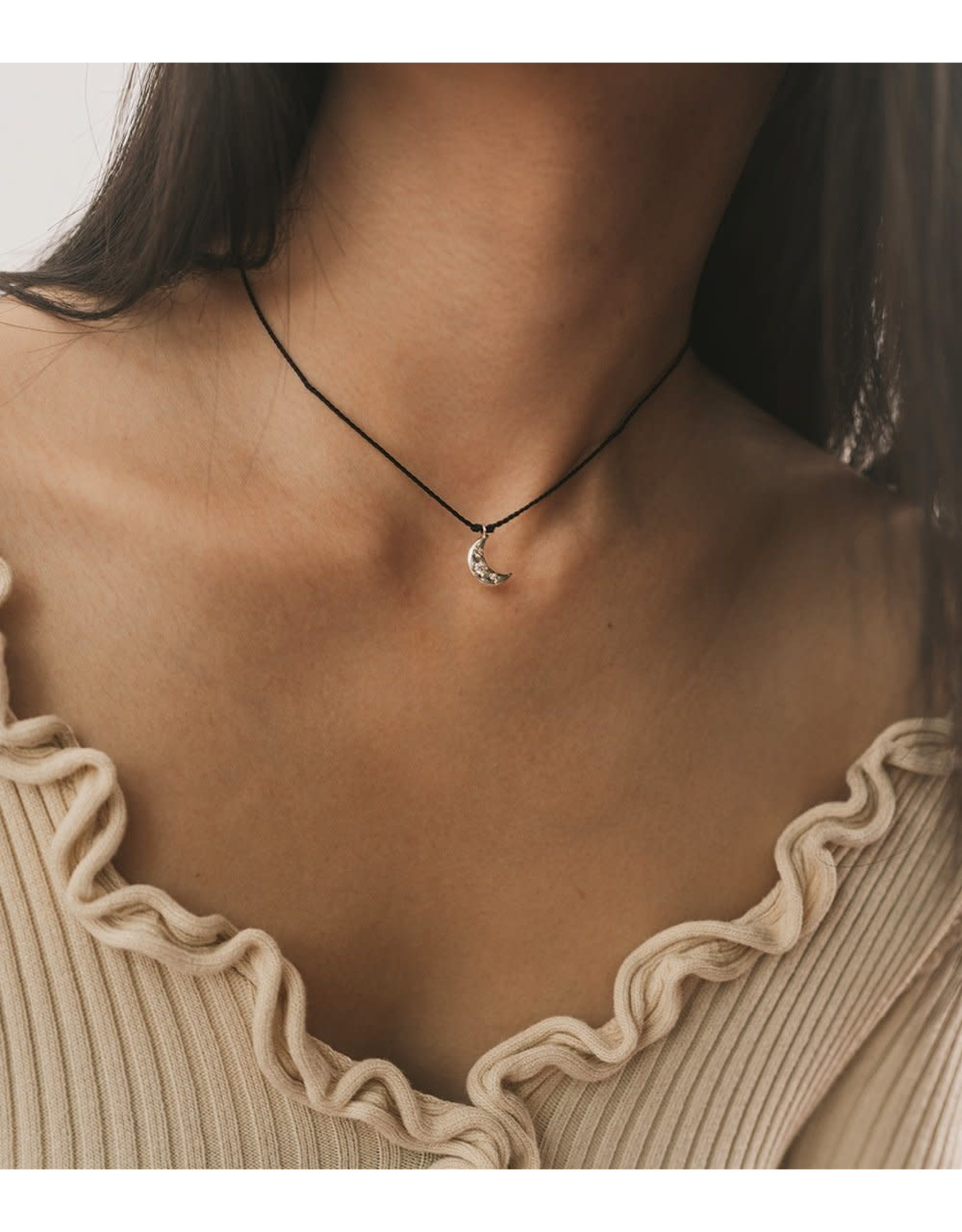 Sterling Silver Jivala Charm Necklace - Moon