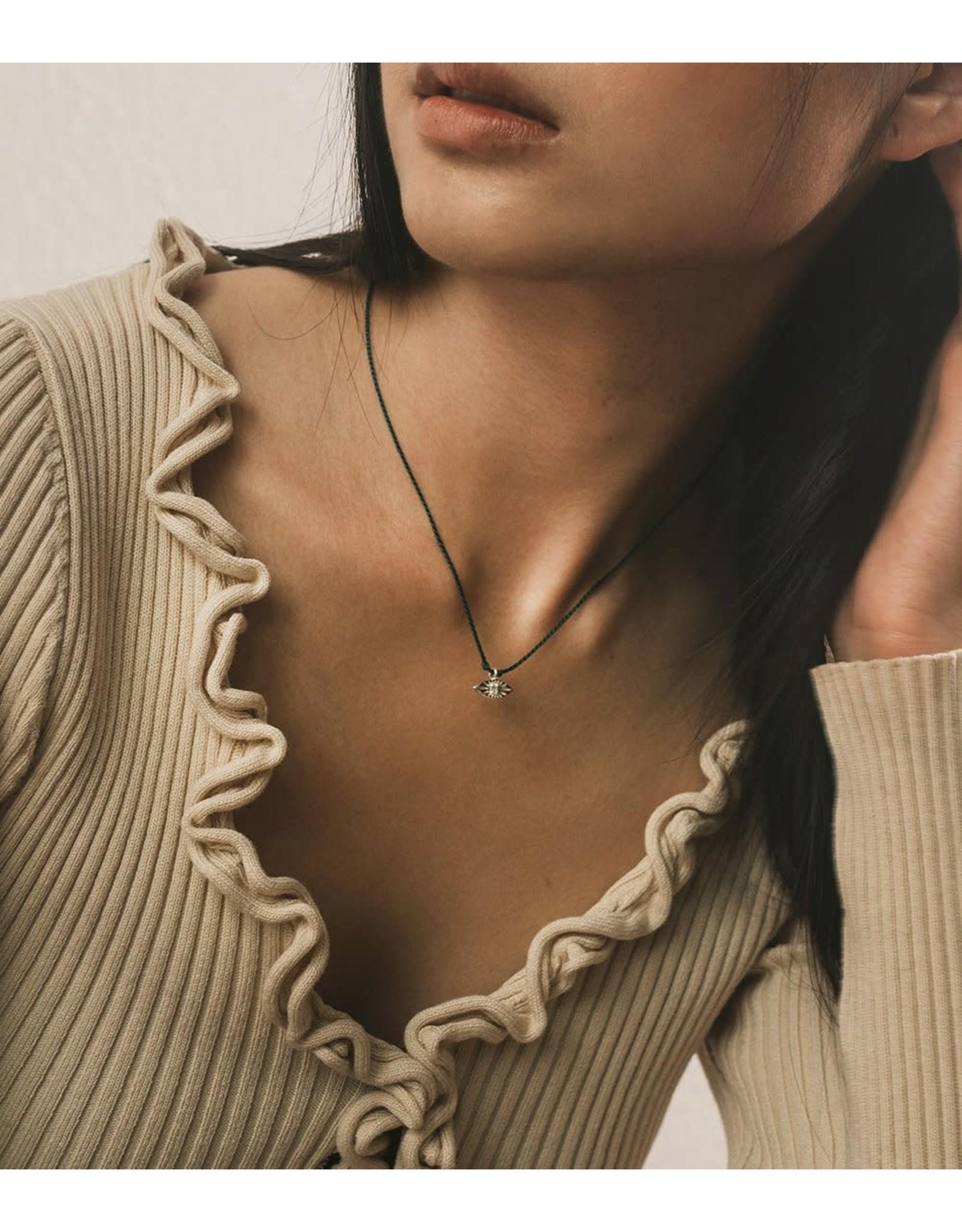 Sterling Silver Jivala Charm Necklace - Evil Eye, India