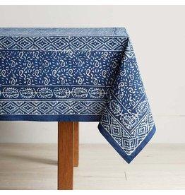 "Indigo Dabu Print Wave Table Cloth, 60"" x 90"", India"
