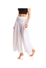 Crinkled Cotton Pants, White, Thailand