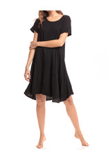 Cap Sleeve Crinkled Cotton Dress, Black
