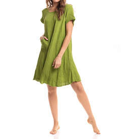 Cap Sleeve Crinkled Cotton Dress, Grass, Thailand