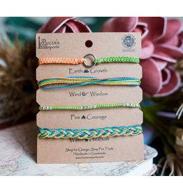 Lucia's Imports Elements Carded Bracelet Set, Green, Guatemala