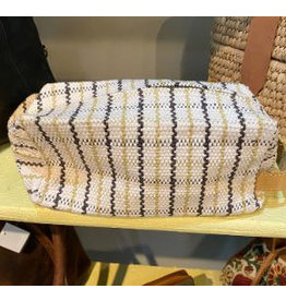Woven Ricrac Cosmetic Bag w/ Leather Handle
