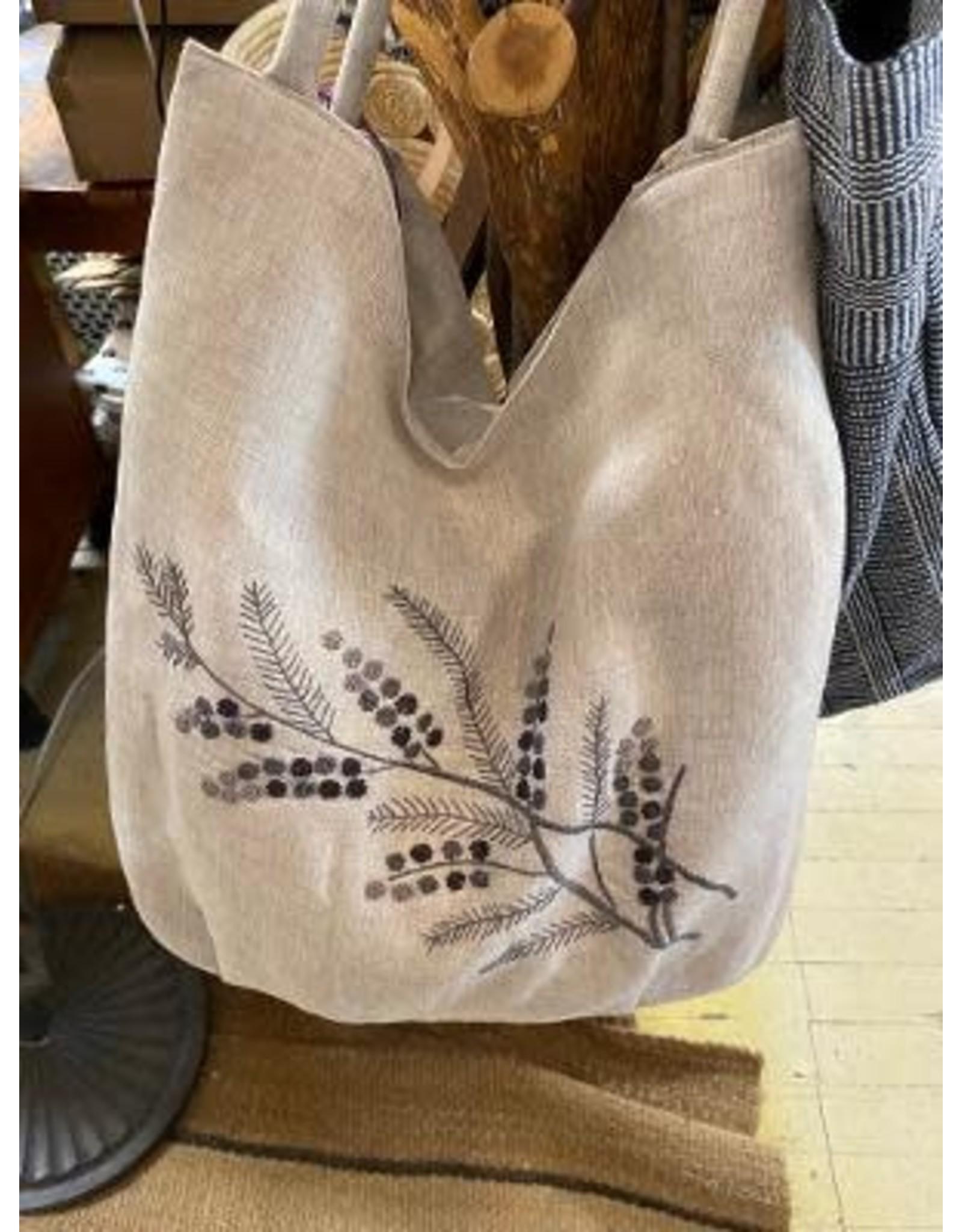 Natural Linen Shoulder Bag, Hand Embroidered Knots, Gray Floral