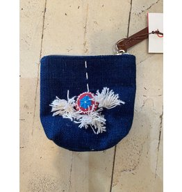Zippered Pouch w/Embroidery and Tassels, Indigo Cotton body
