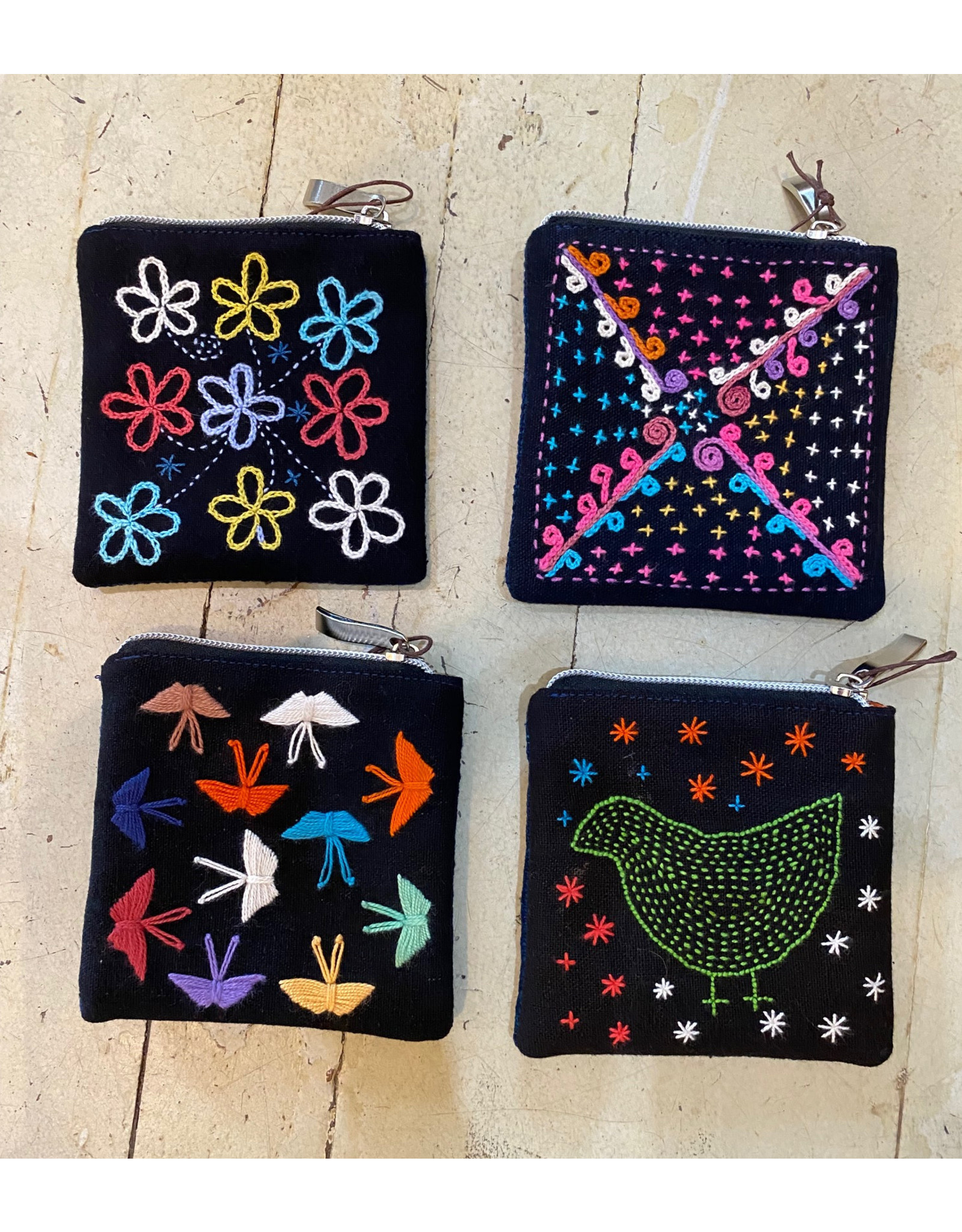 Zippered Coin Pouch w/Embroidery, Assorted Motifs
