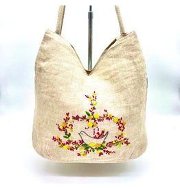 Wooven Natural Linen Shoulder Bag, Hand Embroidered Knots,  Flowers and Bird