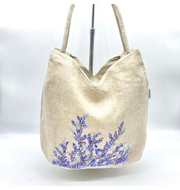 Wooven Natural Linen Shoulder Bag, Hand Embroidered Knots, Blue Flowers