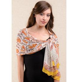 Sheela Block-Printed Scarf, Yellow Orange, India