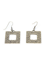 Hollow Square Silver Plated Earrings, Turkey