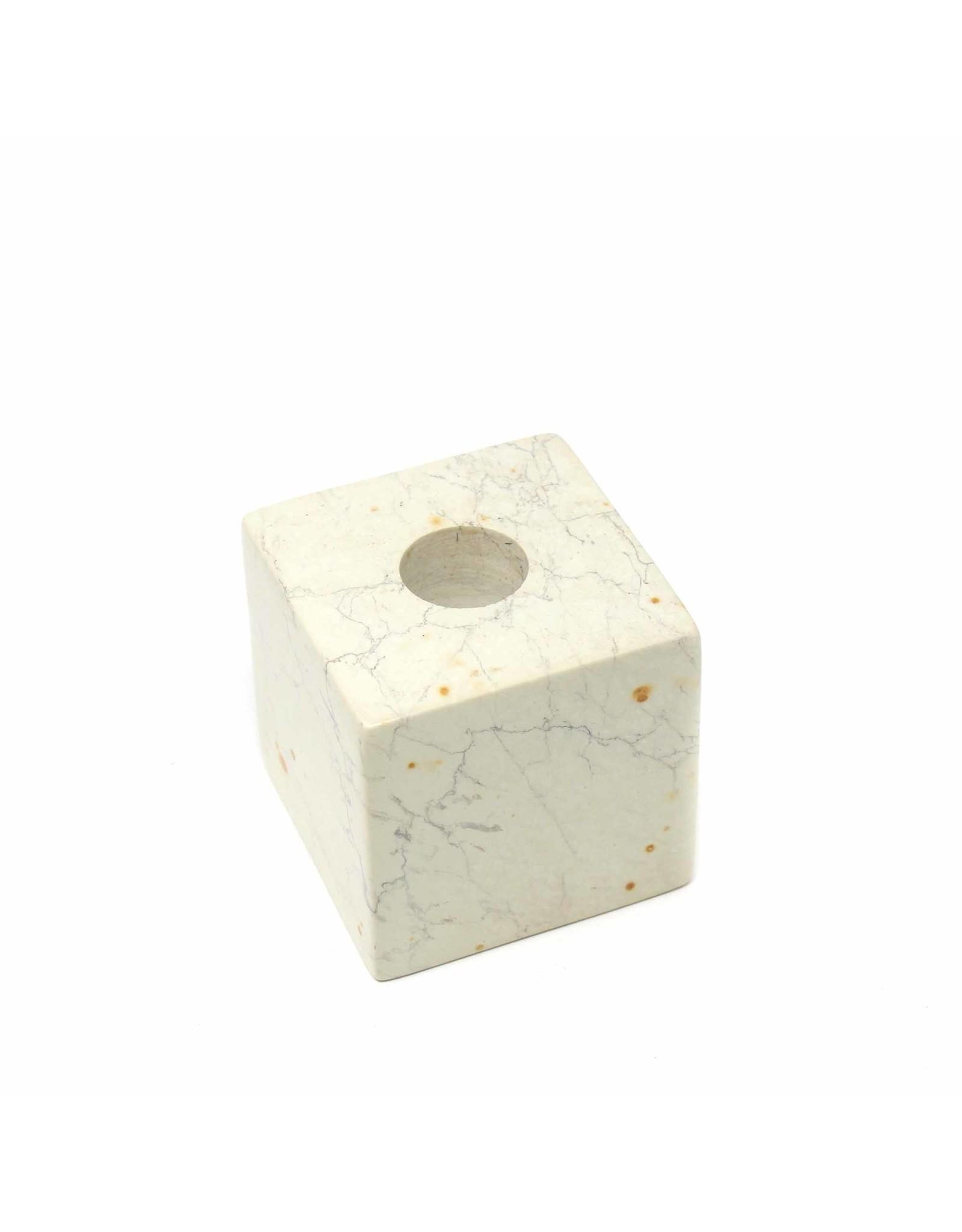 Cube Soapstone Candle Holder, Kenya