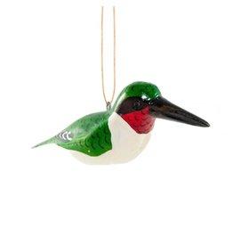Ruby-Throated Hummingbird, Wood Bird Ornament, Kenya