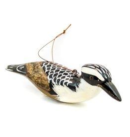 Pied Kingfisher, Wood Bird Ornament, Kenya