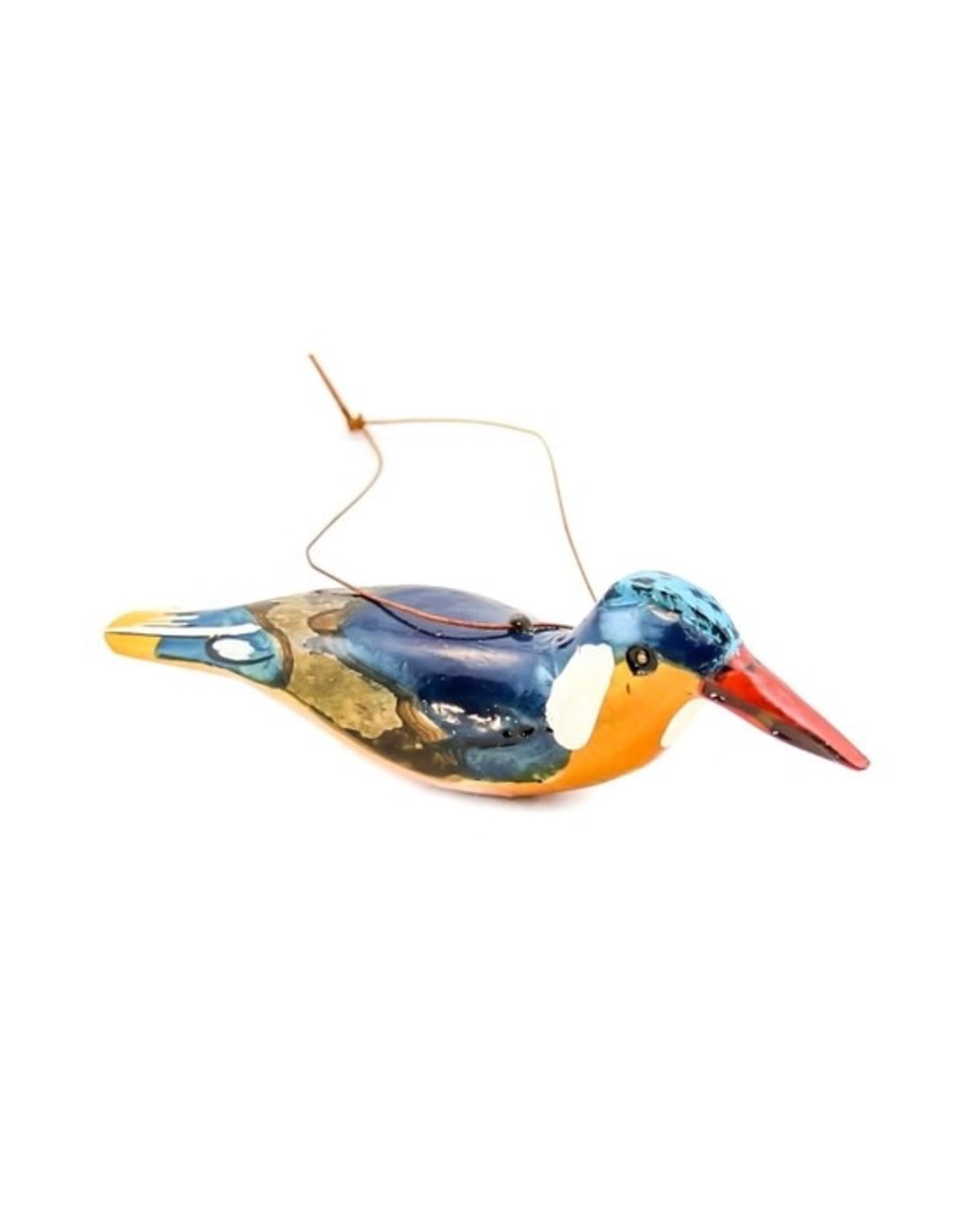 Kingfisher, Wood Bird Ornament, Kenya
