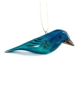 Indigo Bunting, Wood Bird Ornament, Kenya