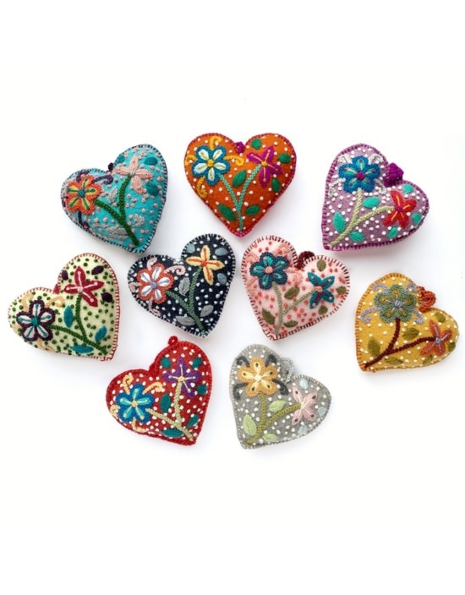 Colorful Hearts with Flowers and Dots Ornament, Variety, Peru