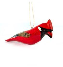 Cardinal, Wood Bird Ornament, Bark Wing, Kenya
