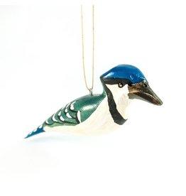 Blue Jay, Wood Bird Ornament, Kenya