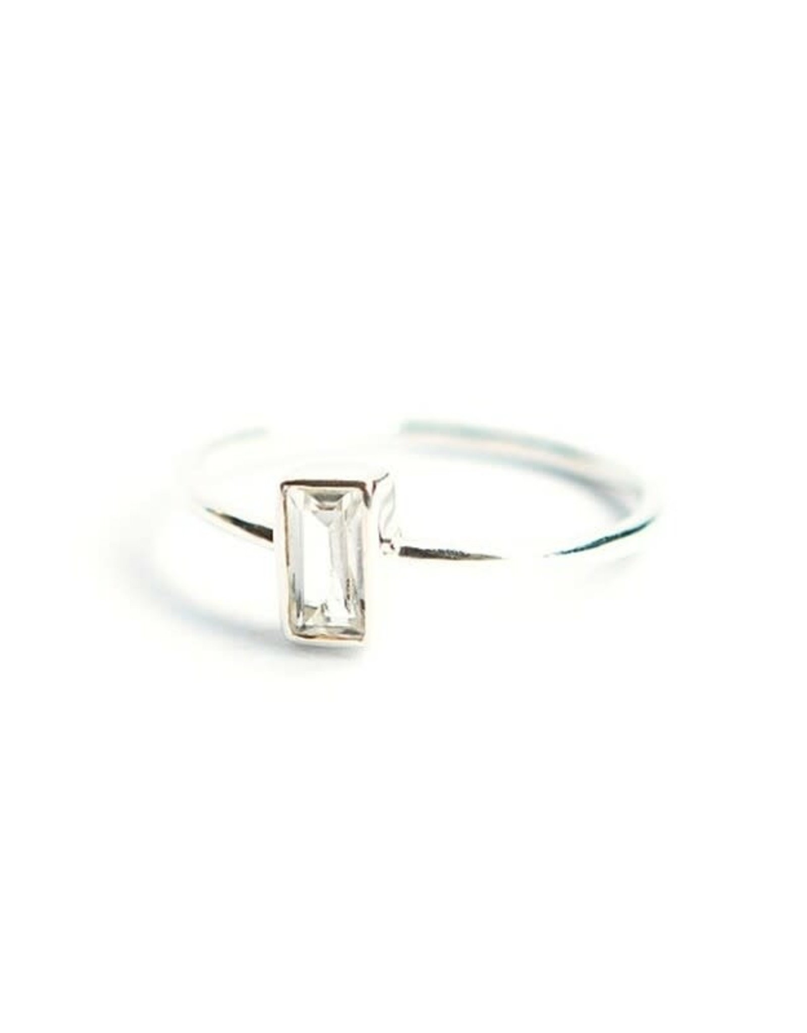 Sterling Silver Prism Ring, Crystal, Size 8, India