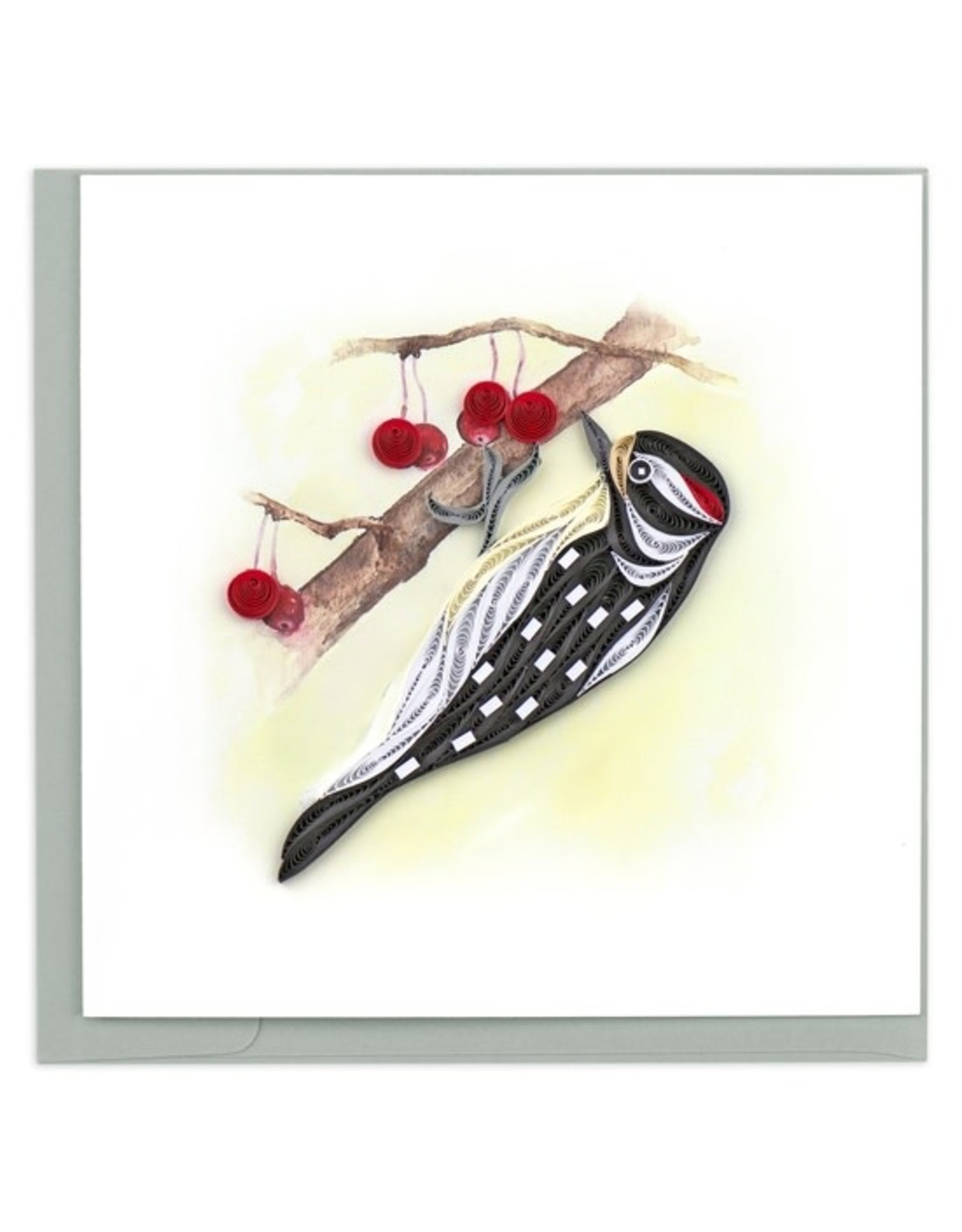 Downy Woodpecker Quilling Card, Vietnam